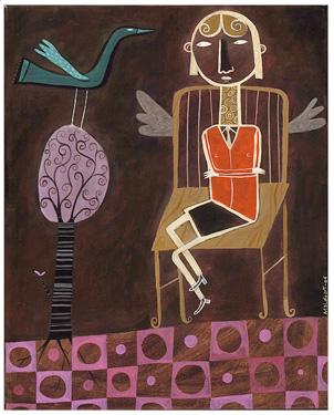 La fille et l'oiseau